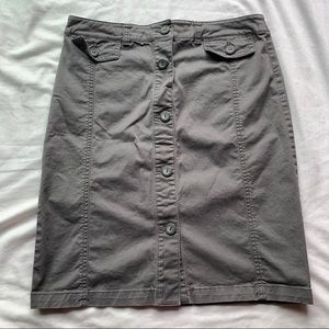 New York & Company Grey Button Up Pencil Skirt 2